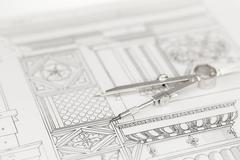 architectural drawing - detail column & compass - stock photo