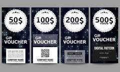 Set of modern gift voucher templates. Virtual reality, abstract technology Piirros