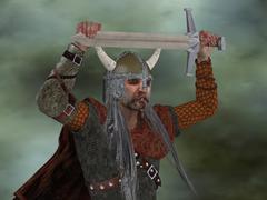 Viking Man with Sword - stock illustration