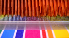 Manufactures industrial textiles - Automatic weavers. Stock Footage
