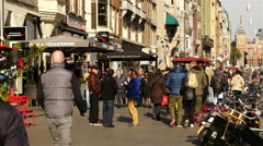 Crowds of People Walking Down Busy Street  - Amsterdam Netherlands Stock Footage