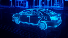 city car structure overview in wire style - stock footage