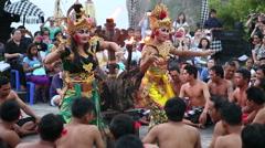 Traditional Balinese Kecak Dance at Uluwatu Temple, Bali, Indonesia - stock footage