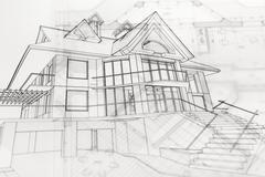 Architecture blueprints & house drawing Stock Photos