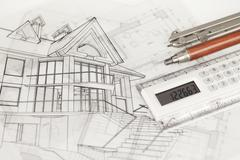 Architecture blueprints -  house, compass, electronic calculator & mechanical Stock Photos