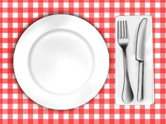 plate and cutlery - stock illustration