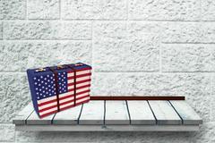Composite image of usa flag suitcase - stock illustration