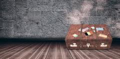 Composite image of suitcase with stickers Stock Illustration