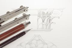 Drawings of architectural details - columns element, and tools - compasses, m Kuvituskuvat