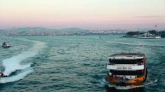 İstanbul city sea transport Stock Footage