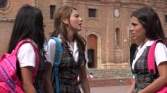 Teen Students Hug And Say Goodbye Stock Footage
