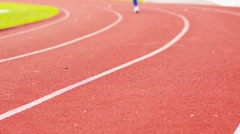 Woman running in stadium. Beautiful Sport Background - stock footage