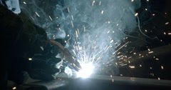 Lots of sparks coming from the welding machine Stock Footage