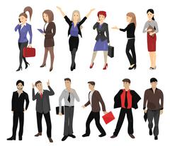 Set of full length portraits of business people Stock Illustration