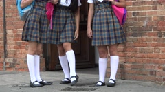 Female Students Wearing Skirts Or Dresses Stock Footage