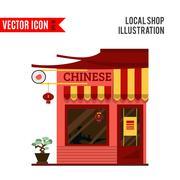Chinese detailed flat design restaurant icon - stock illustration