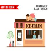 Ice cream detailed flat design cafe icon Stock Illustration