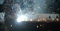 Attaching metal steel bars using the welding machine Stock Footage