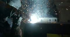 The welding machine used by the factory worker Stock Footage