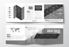 Vector set of tri-fold brochures, square design templates. Microchip background Stock Illustration