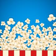 Heap popcorn for movie lies on blue background Stock Illustration