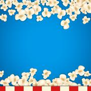 Heap popcorn for movie lies on blue background - stock illustration