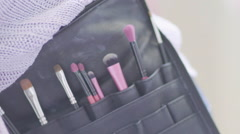 Makeup Artist, brushes Stock Footage