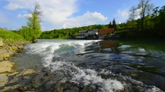 Downstream view of the small waterfall on the Dobra River, Croatia - stock footage
