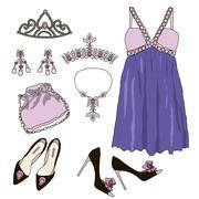 Woman wardrobe clothes accessories set - stock illustration