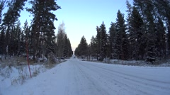 Two girls are on the road in snow winter forest in Finland, Long shot Stock Footage