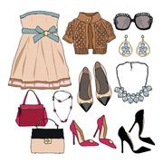 Woman wardrobe clothes accessories set Stock Illustration