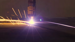 Lights of sparks on the plasma cutter Stock Footage