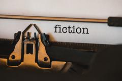 Fiction against close-up of typewriter Stock Photos