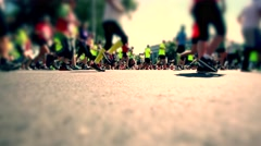 Marathon runners in the city ,runners on the asphalt road Stock Footage