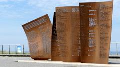 War memorial on the coast of Katwijk Stock Footage