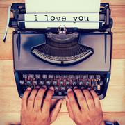 Composite image of the sentence i love you against white background - stock photo