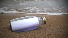 Empty message in a bottle Stock Footage