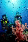 Scuba diver on shipwreck. Stock Photos