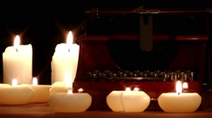 Typewriter and candles  Stock Footage