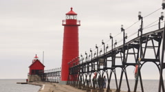 Dual Lighthouses Grand Haven Nautical Markers Lake Michigan Stock Footage