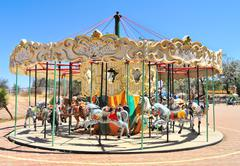 Carousel at a Leisure Park stand still Stock Photos