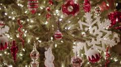 Close up of decorated Christmas tree / Cedar Hills, Utah, United States Stock Footage