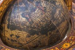 Close up of Old Wooden Mounted World Globe Stock Photos