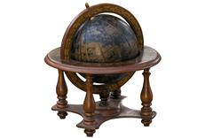 Vintage World Globe Mounted in Wooden Stand Stock Photos
