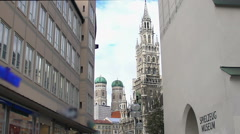 New Town Hall building and cathedral at Marienplatz, Munich. Place of interest - stock footage