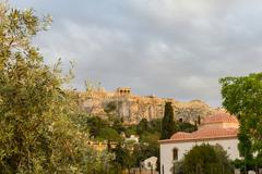 Church and Acropolis afternoon view from around Roman Agora, Athens - stock photo