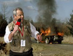 News presenter and car on fire Stock Photos