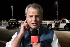 News presenter at crime scene Kuvituskuvat