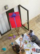 Arriving with gifts to the party - stock photo