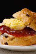 Scone jam and cream - stock photo